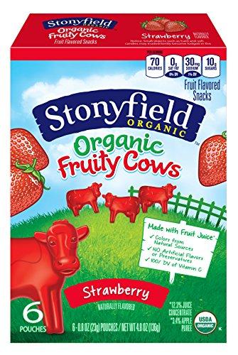 Stonyfield Organic Fruity Cow Snacks, Strawberry Flavor Box, 4.8 oz]()