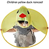 Fullfun Cute Duck Rain Coat UFO Children Umbrella Hat Magical Foldable Raincoat, Hands Free (M)