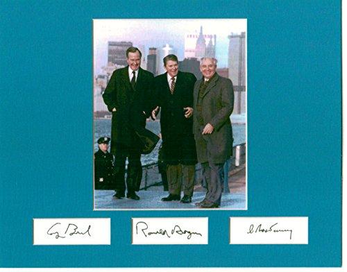 President Ronald Reagan, Mikhail Gorbachev, & George H.W. Bush 8 X 10 Photo Display Autograph on Glossy Photo Paper (President George Hw Bush And Mikhail Gorbachev)