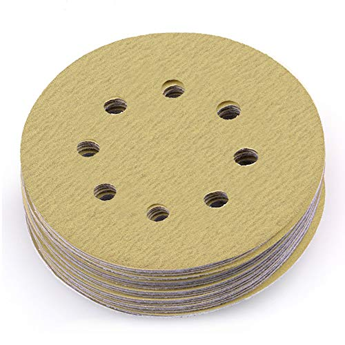 LotFancy 5-Inch 8-Hole 120 Grit Dustless Hook-and-Loop Sanding Disc Sander Paper, Pack of 100
