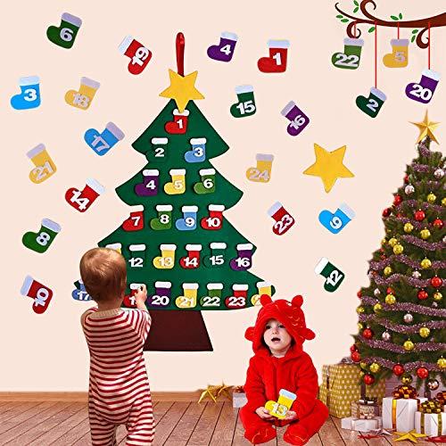 Outgeek Felt Christmas Tree, Advent Calendar Tree DIY Christmas Tree Advent Calender with 24 PCS Ornaments for Kids New Year Door Wall Hanging Xmas Decoration (24PCS)