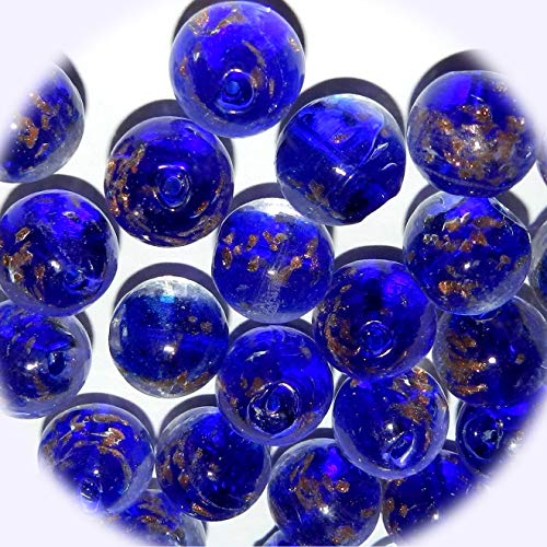 New Cobalt Blue in Clear w Gold Color Sparkles 15mm Round Lampwork Glass Jewelry-Making Beads 10pc DIY Craft Supplies for Handmade Bracelet Necklace ()