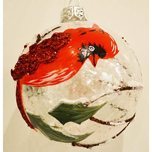 Seasons Designs Winter Cardinal Poinsettia Glitter Glass Ball Hanging Ornaments - Set of 4
