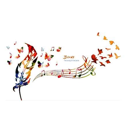 Winhappyhome Piume Art Stickers Parete Di Musica Per Camera Da ...