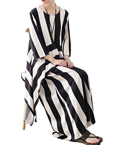 YESNO JDM Women Casual Loose Striped Blouse Shirts Asymmetric Hem Wide Leg Cropped Pants