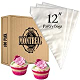 Montreal Baking 12 Inch Cupcake Icing Bags | 100 Pack — Lightweight Disposable Pastry Bags, Piping Bags, Cupcake Decorating Bags