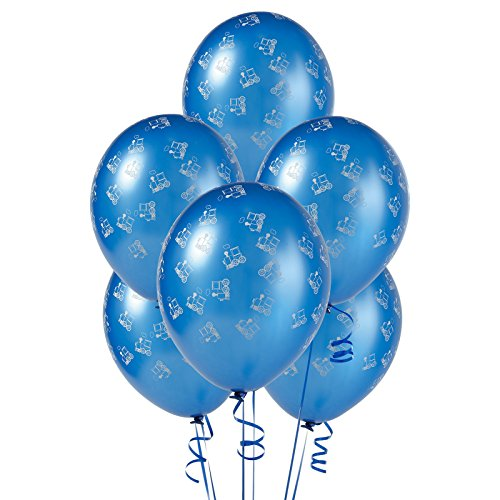 R And T Creations LTD Mid Blue with Trains Matte Balloons -