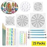 LAMPTOP 25Pcs Mandala Dotting Tools Set Mandala Rocks Painting Kit, Include Mandala Stencil, Mandala Dotting Pen, Paint Tray,Brush and Modeling Tools for DIY Mandala Painting Art Crafts