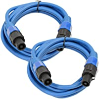 Seismic Audio - TW12S10Blue-Pair - Pair of 12 Gauge 10 Foot Blue Speakon to Speakon Professional Speaker Cables - 12AWG 2 Conductor Speaker Cables