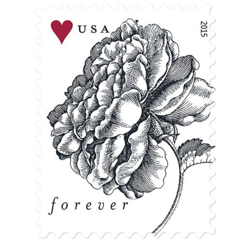 Vintage Rose Sheet of 20 USPS Forever Stamps Wedding, Anniversary, Celebration, Flowers