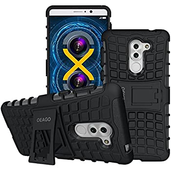 Honor 6X Case, OEAGO Huawei Honor 6X Case [Shockproof] [Impact Protection] Tough Rugged Dual Layer Protective Case with Kickstand for Huawei Honor 6X - Black
