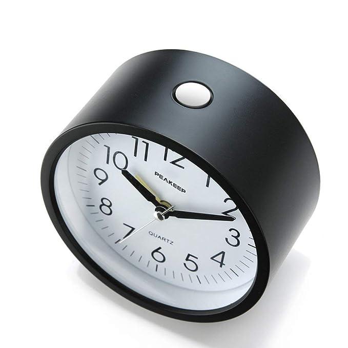 Amazon.com: Peakeep Reloj despertador silencio, redondo de 4 ...