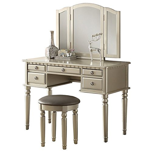 (Care 4 Home LLC Accent Makeup Vanity Set, 5 Storage Drawer Table with Folding Mirror and Stool, Functional and Comfortable, Bedroom Furniture, Solid Construction + Expert Guide (Silver))