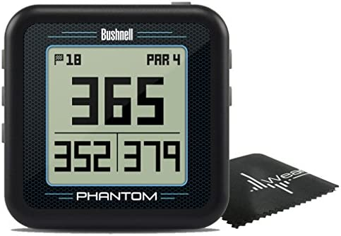 Bushnell Phantom Compact Handheld Golf GPS with Built-in Golf Cart Magnet and Wearable4U Cleaning Towel Bundle Black