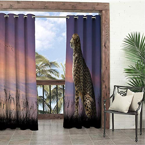 Linhomedecor Balcony Waterproof Curtains Cheetah African Safari Concept Image of Cheetah Loo Out Over Savannah Sun Sky Multicolor Porch Grommets Parties Curtain 120 by 96 inch