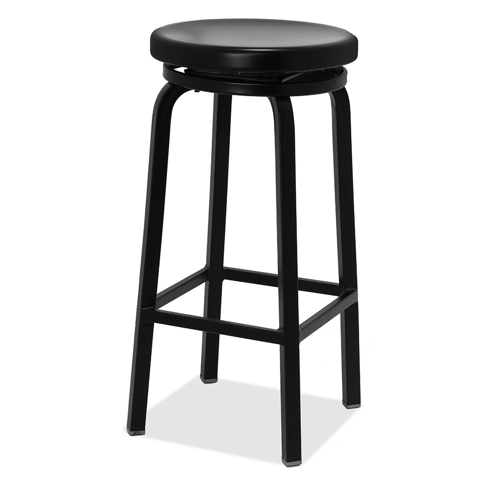Renovoo Aluminum Swivel Backless stool, Matte Black Powder Coated finish, 30 Inches Seat Height, Indoor and Outdoor Use, 1 Pack.