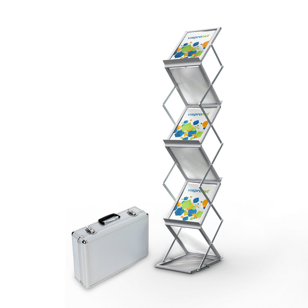 Vispronet - 4.9ft tall Tradeshow Brochure Holder - Fold-Out Brochure Holder for Events and Conferences