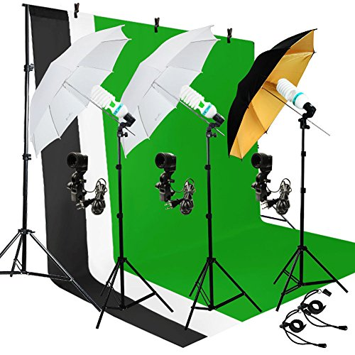 (Photography Umbrella Lighting Kit Studio Light Bulb Including 3 Color 5x10ft Backdrops (Black/Whtie/Green) Background Screen)