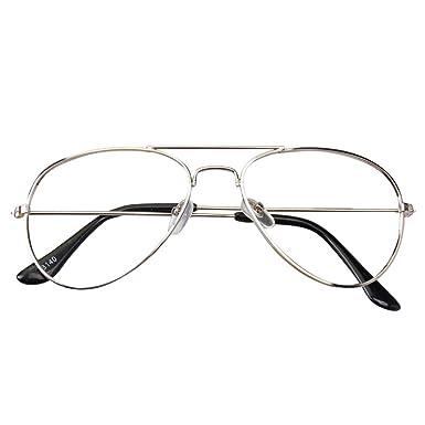 e52e21bcc8f185 Hibote Fille Garçon lunettes Aviator - Verres à lentilles transparentes  Cadre Geek Nerd Eyewear Lunettes