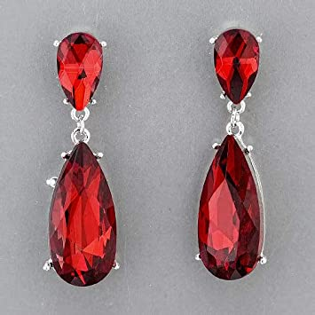 Rhodium Silver Teardrop Shaped Dropped Clear Red Stones Stud Earrings