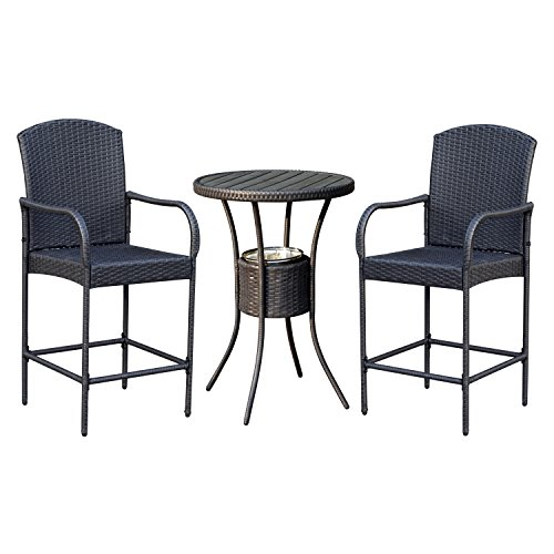 Outsunny 3 Piece Outdoor Rattan Wicker Bar Stool Bistro Set with Ice Buckets