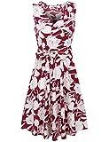 SUNGLORY Womens Floral Print Dress Summer Sleeveless Elegant Midi Tank Dress with Belt