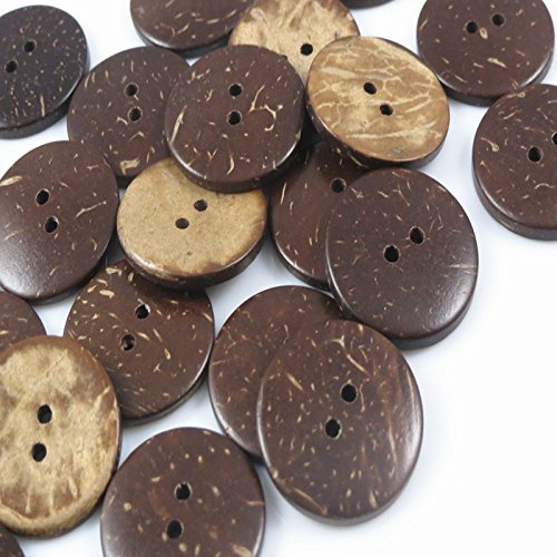 Used, YAKA 100pc New Thick Coconut Shell 2 Holes Button Craft/Sewing/hot for sale  Delivered anywhere in USA