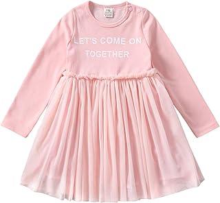 ggudd Baby Mädchen Langarm Prinzessin Zeichen Gedruckt Tüll Tutu Outfits Kleider für 2-7 Jahre