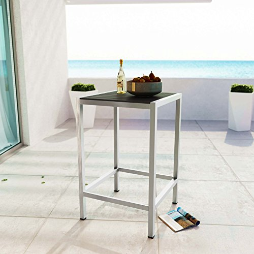 Modway Shore Aluminum Outdoor Patio Square Bar Table in Silver Gray by Modway (Image #4)