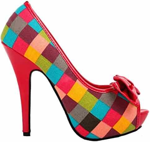 b36cd0414126 SHOW STORY Fab Multi-Coloured Check Tartan Bow Platform Stiletto Shoes
