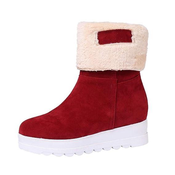 SamMoSon Botas Mujer Altas De Mujer Tacon Marrones,Invierno Mujer Gamuza Punta Redonda Cuñas Zapatos Mantener Cálidas Botas De Nieve De Felpa Sin Cordones: ...