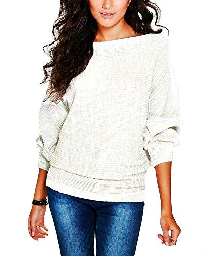 Mujeres Manga Larga Suéter Pull-Over Outwear Suelto Blusa Pullover Sudadera Blanco