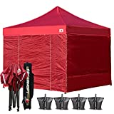 (20+ colors)Abccanopy 10-feet By 10-feet Festival Steel Instant Canopy, Commercial Level, with Wheeled Storage Bag, 6 Removable Zipper End Walls , Bonus 4x Weight Bag (burgundy)