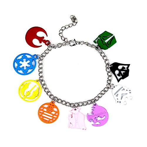 [Star Wars Themed Face Charm Bracelet - Colorful Stormtroopers, Darth Vader, Jedi Knight, Star Wars Logo Cosplay Jewelry] (Tin Foil Robot Costume)