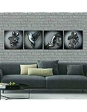 Liefde hart 3d kunst aan de muur, abstracte metalen figuur sculptuur canvas schilderij hangende schilderij, liefde hart grijs-kunst muur-Valentijnsdag cadeau, versier je kamer (A+B+C+D)