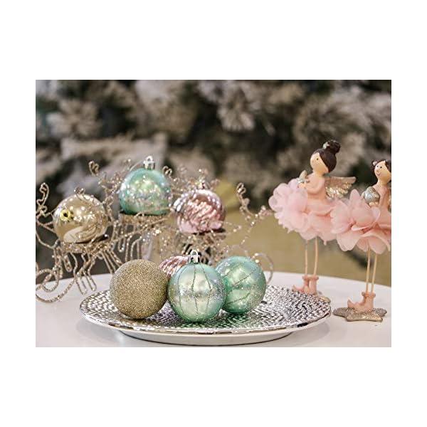 Valery Madelyn Palle di Natale 30 Pezzi 6cm Palline di Natale, Elegante Palazzo Verde Menta e Oro Rosa Infrangibile Ornamenti Palla di Natale Decorazione per Albero di Natale Decor 6 spesavip