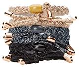 L. Erickson Braided Bow Pony 6 Pack, Gold/Hematite/Black, Set of 6 - Extremely Comfortable Ponytail Holders