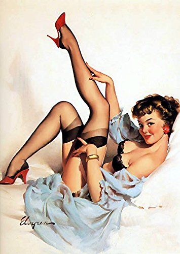Pin-Up Girl Gil Elvgren Print Art Print - 8 in x 10 in - Matted to 11 in x 14 in - Mat Colors Vary -