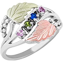 Black Hills Gold Silver Mother's Ring - 3 stones - MR926