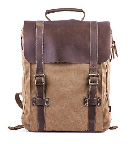 Gootium Leather Canvas Backpack - Vintage Travel Day Pack Unisex Rucksack, (Safari Backpack)