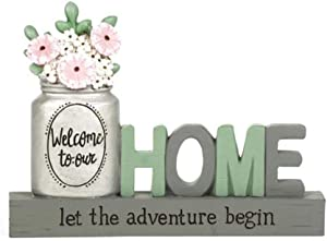 Blossom Bucket 211-13057 Welcome to Our Home Plaque with Flowers, 4.25-inch Height