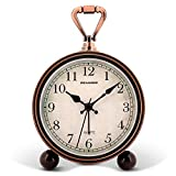 Peakeep 4' Battery Operated Antique Retro Analog Alarm Clock, Small Silent Bedside Clock