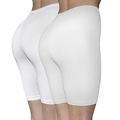 b60132f762e ILKE Women s 2 Pack Cotton Active Dance Running Yoga Boyshorts Boxer Brief  (White