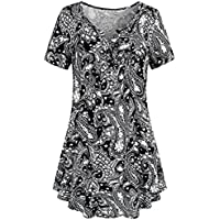 Paymenow Clearance Women Short Sleeve Summer Tops Shirts Casual V Neck Button Ruffled Henley Polo Tunic Blouse (M, Black D)