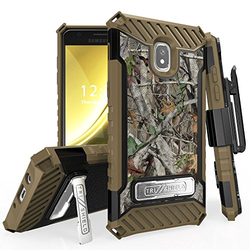 for 5'' Samsung Galaxy J3 2018 (J337), J3 Eclipse 2, J3 Emerge 2018, J3 Prime 2 Case Holster Phone Case 12ft Military Grade Drop Tested Belt Clip Kick stand Hybrid Armor Cover (Camo) by 6goodeals