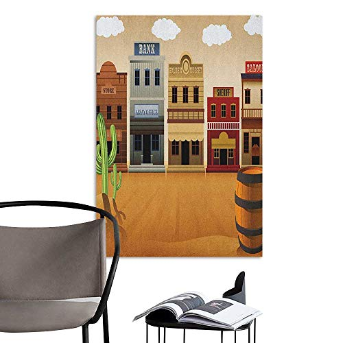 Brandosn 3D Murals Stickers Wall Decals American Wild West Scenery Village Old Town Texas Cowboy States Nostalgic Illustration Multicolor 3D Bathroom Decal W24 x H36 -