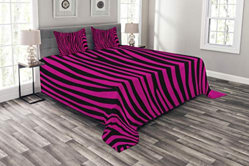 Ambesonne Pink Zebra Bedspread Set Queen Size, Stylish African Animal Wilderness Pattern Jungle Mammal Fashion Boho Graphic, Decorative Quilted 3 Piece Coverlet Set with 2 Pillow Shams, Hot Pink -
