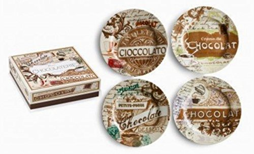 Gift Boxed Chocolaterie Porcelain Set of 4 Dessert Plates
