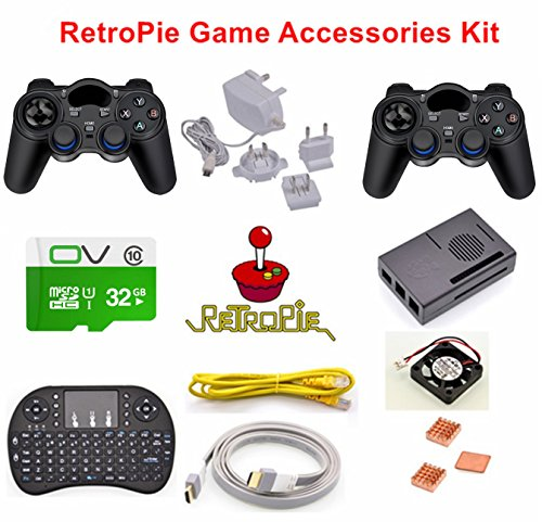 Price comparison product image Raspberry Pi 3 RetroPie Game Accessories Kit, Pre-installed emulators: Nintendo NES,  NEOGEO,  MAME,  GAMEBOY,  SEGA, SUPER NINTENDO and so on.