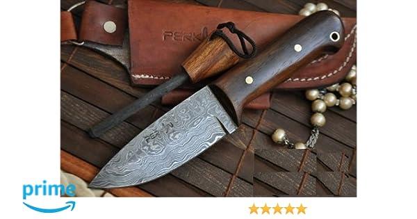 Perkin Knives Cuchillo de Caza Damasco Cuchillo bushcraft con Cuchillo y afilador de Cuchillos